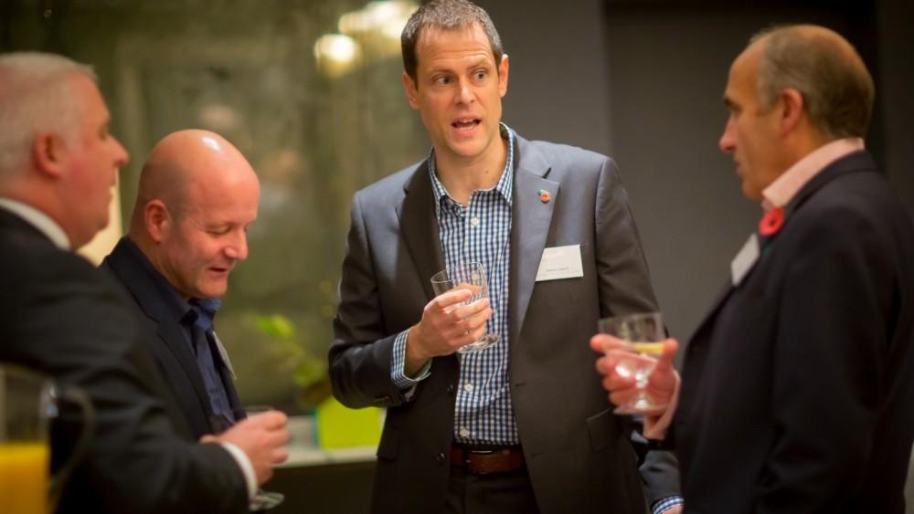 Glenn Leech and Martyn Sakol talk to guests at the Ham Yard Hotel